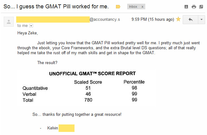 email 780original GMAT Score: 780 (Q51,V46) + 25 minutes left on Quant + 40 minutes left on Verbal....Wow!