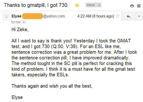 email elyse GMAT Score: 730 (Q50, V39) from ESL Student in China